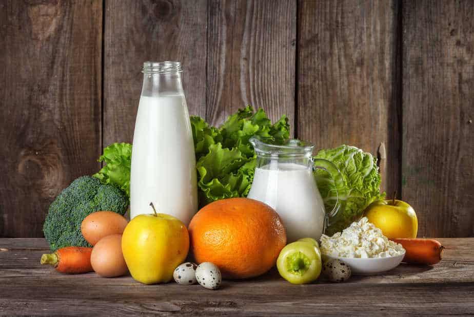 healthy food for diet: Milk, vegetable, fruit, and eggs