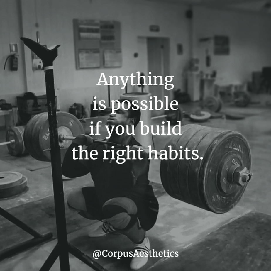 strength training motivational quotes, Anything is possible if you build the right habits, a guy has a training with weights