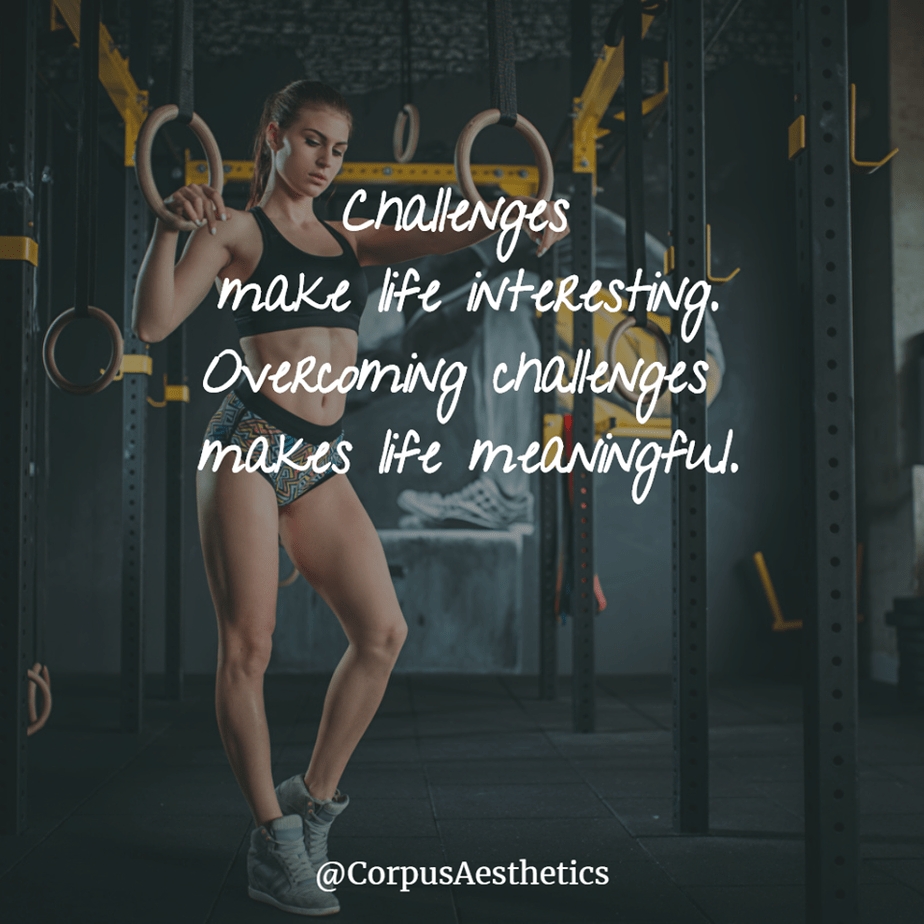 fitness motivational quotes, Challenges make life interesting, a girl has a fitness training at the gym