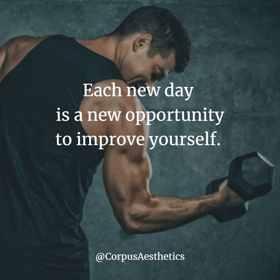 weight lifting motivational quotes, Each new day is a new opportunity to improve yourself, a guy has training with weights