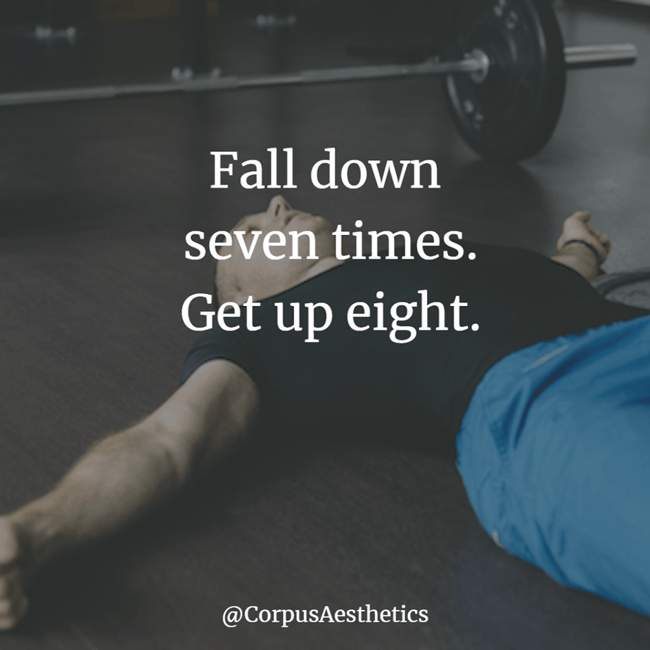 strength training inspirational quotes, Fall down seven times. Get up eight, a tired guy is laying down after hard training