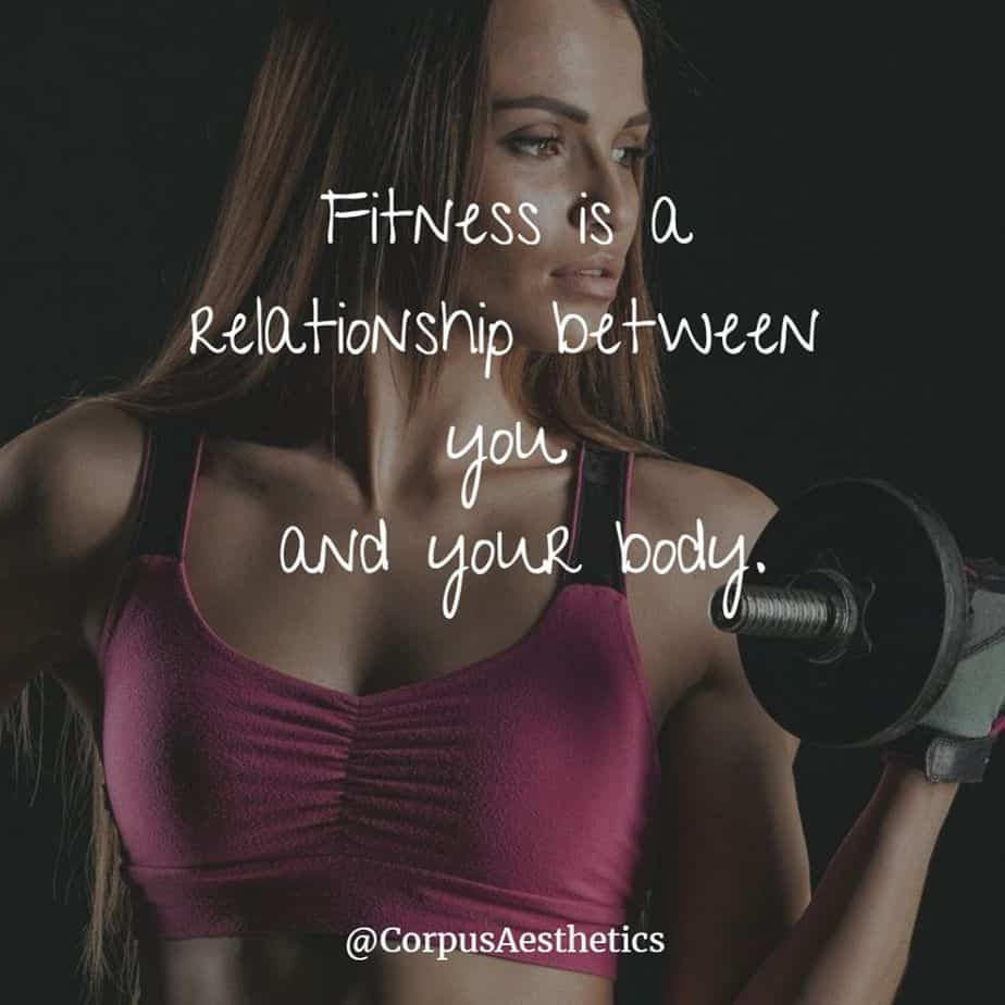 fitness motivational quotes, Fitness is a relationship between you and your body, a girl has training with weights