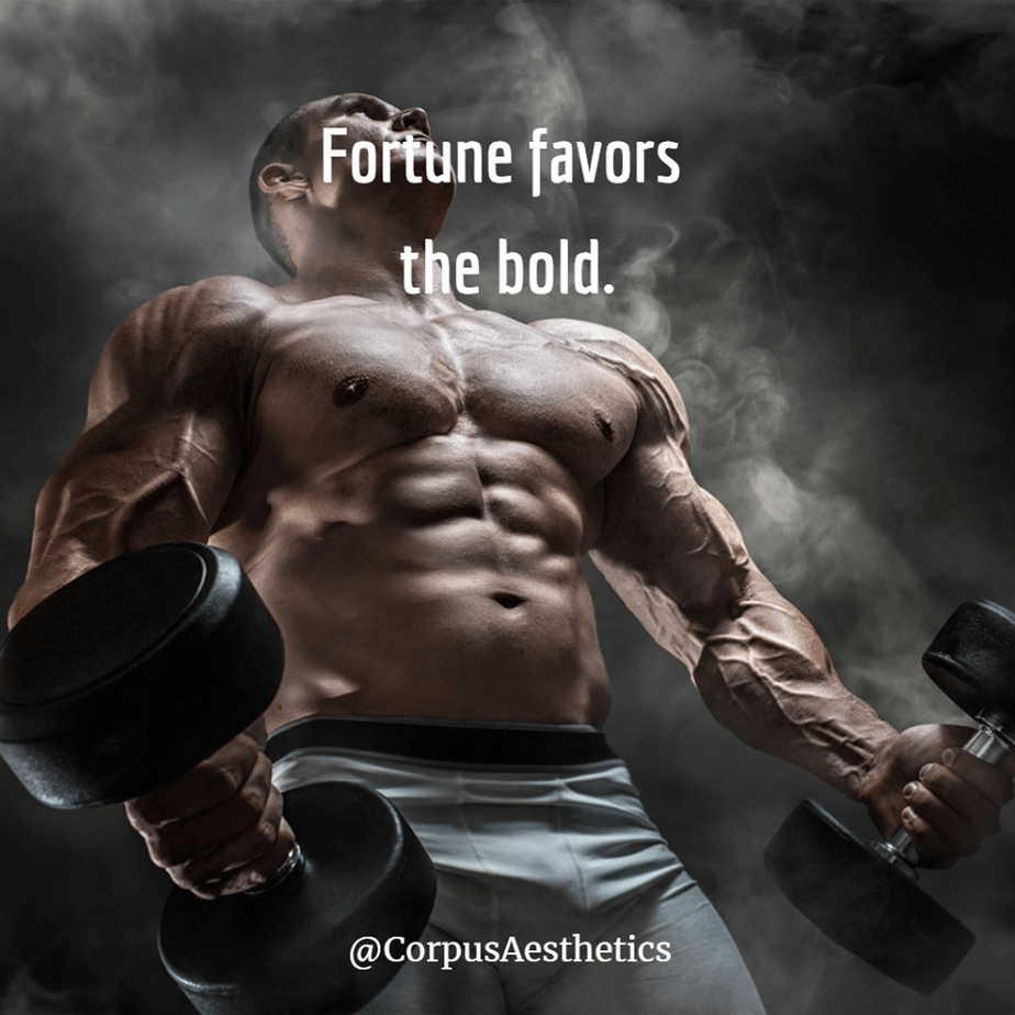 weight lifting motivational quotes, Fortune favors the bold, a muscle guy has a weightlifting training
