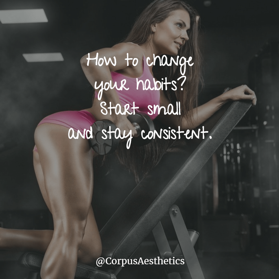 fitness motivational quotes, How to change your habits, a girl has a weightlifting training at the gym