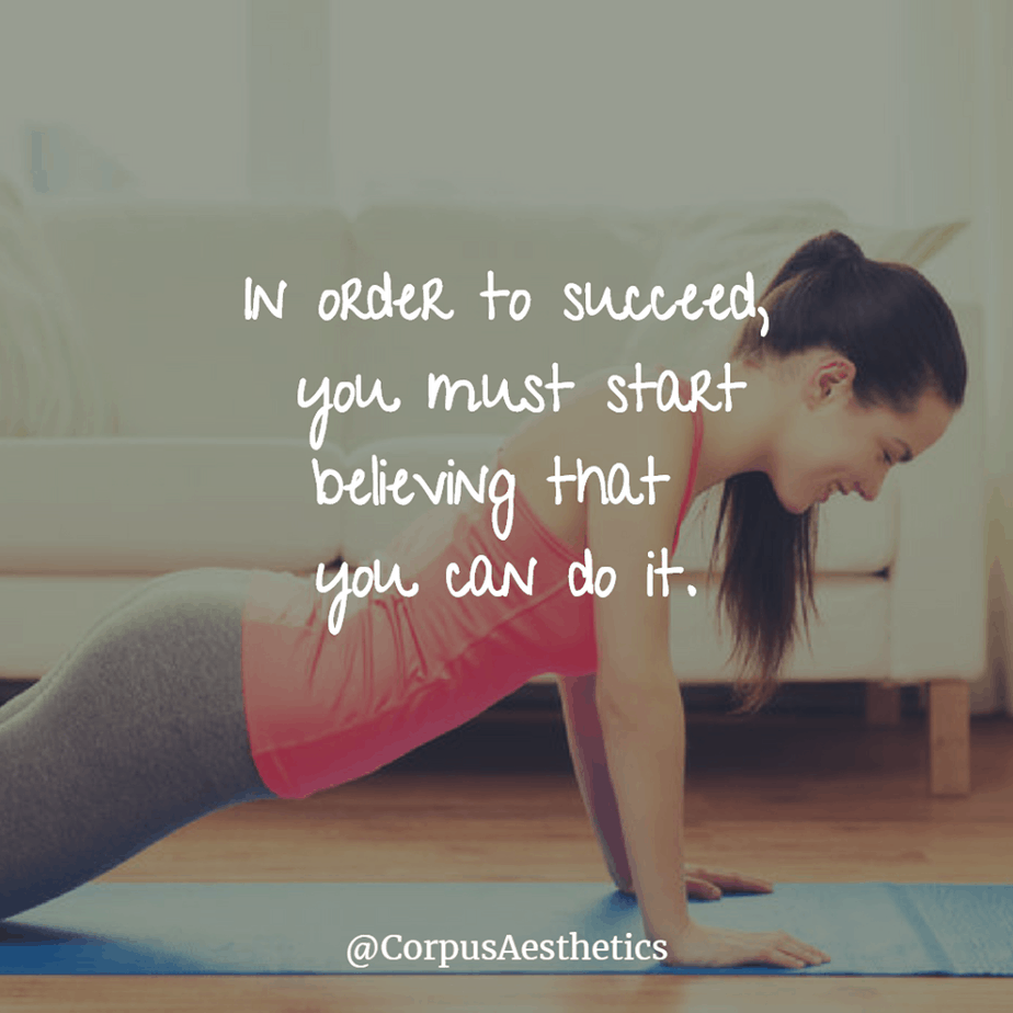fitness motivational quotes, you must start believing that you can do it, a girl has a training with push-ups at the gym