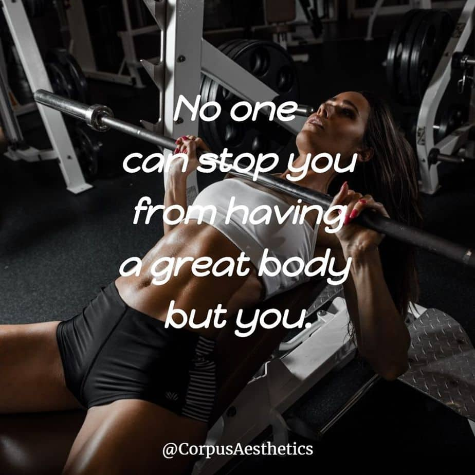 fitness motivational quotes, No one can stop you from having a great body but you, a girl has weightlifting training