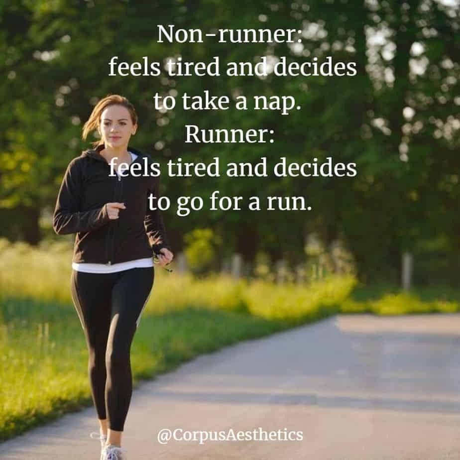 running motivational quotes, Runner: feels tired and decides to go for a run, a girl starts training with running outside