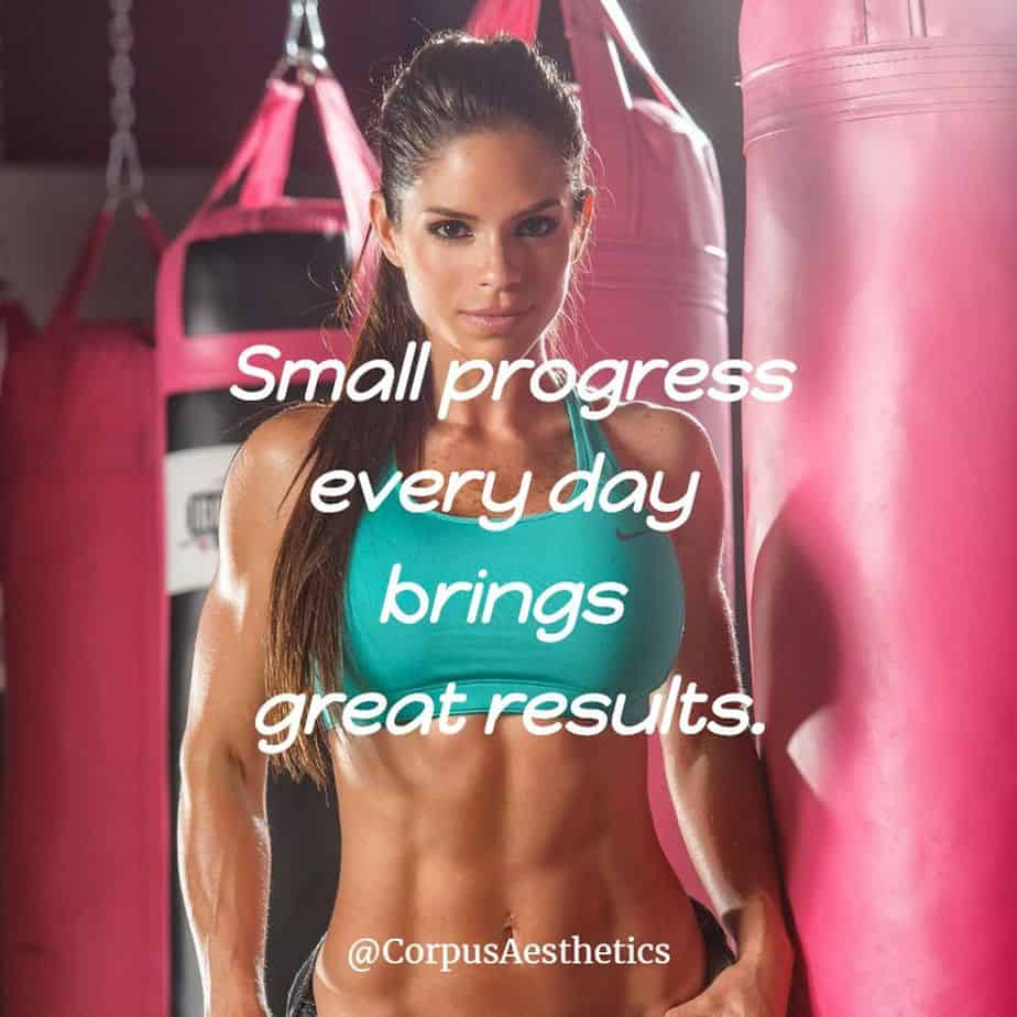 fitness motivational quotes, Small progress every day brings great results, a girl has a training on punching bag at the gym