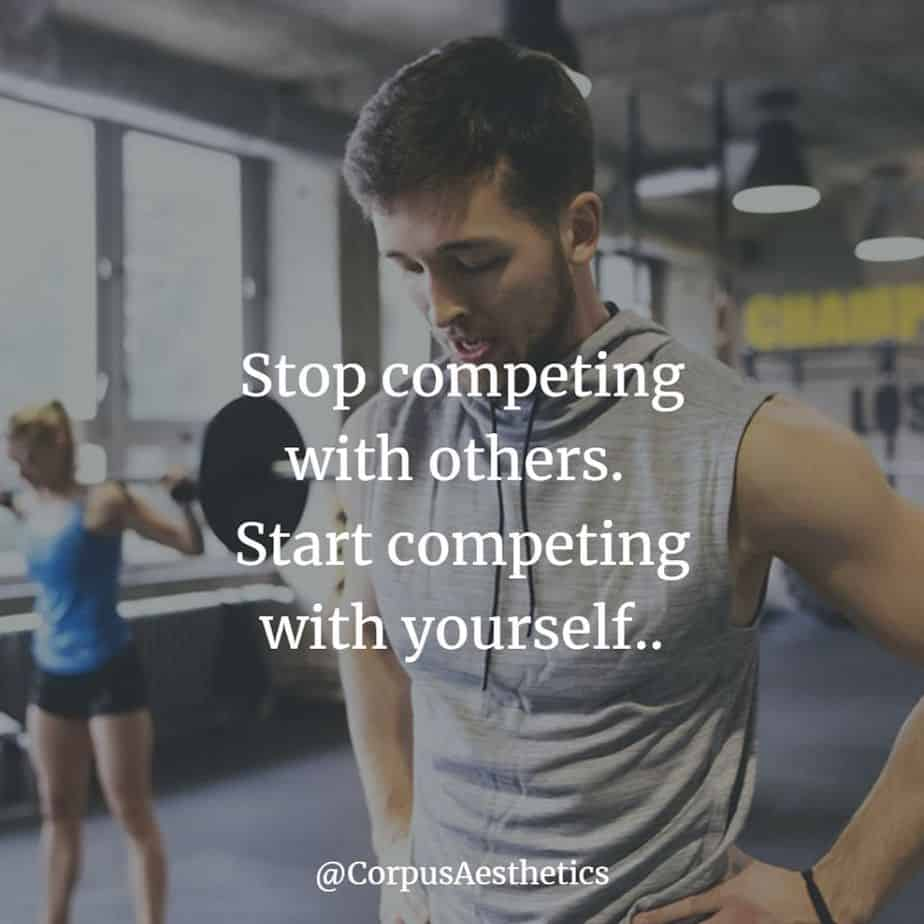gym inspirational quotes, Stop competing with others. Start competing with yourself, a guy is thinking about training