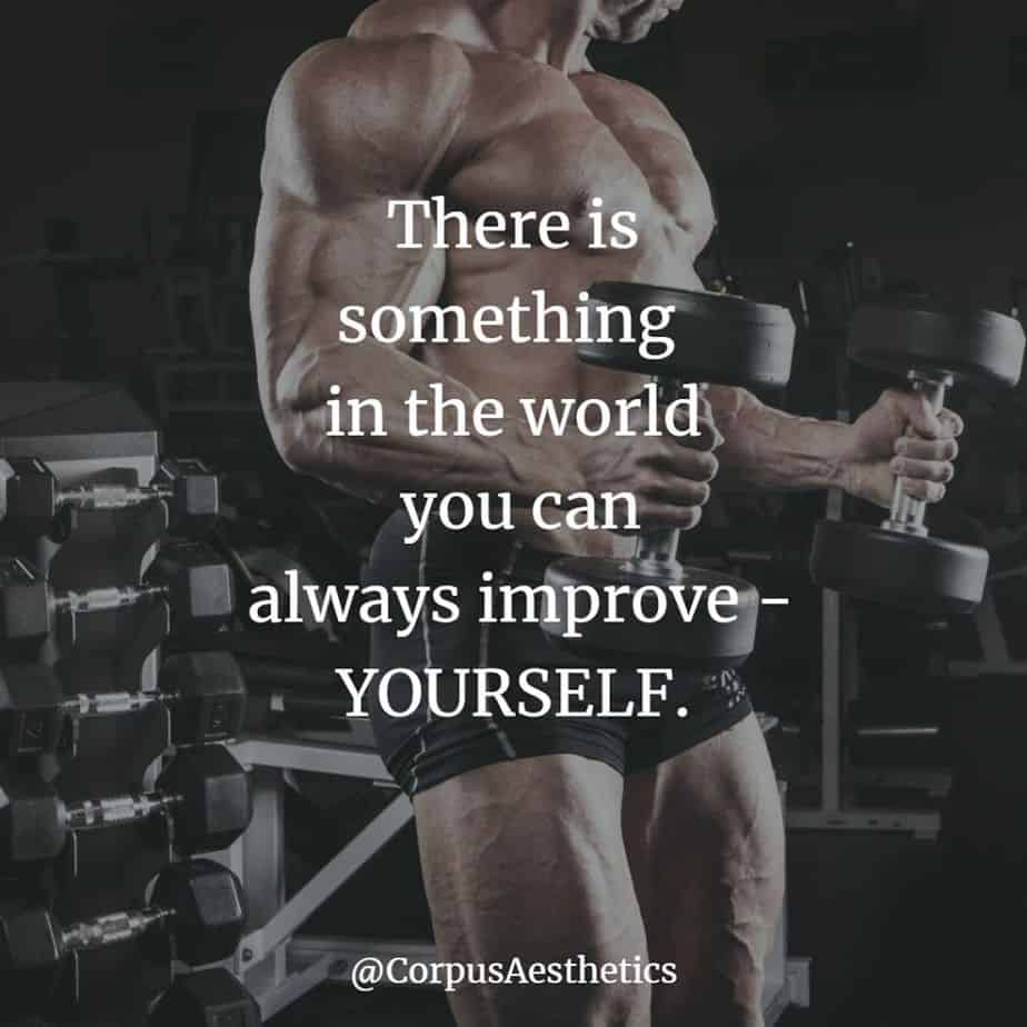 strength training motivational quotes, you can always improve - YOURSELF, a muscle guy has a weightlifting training