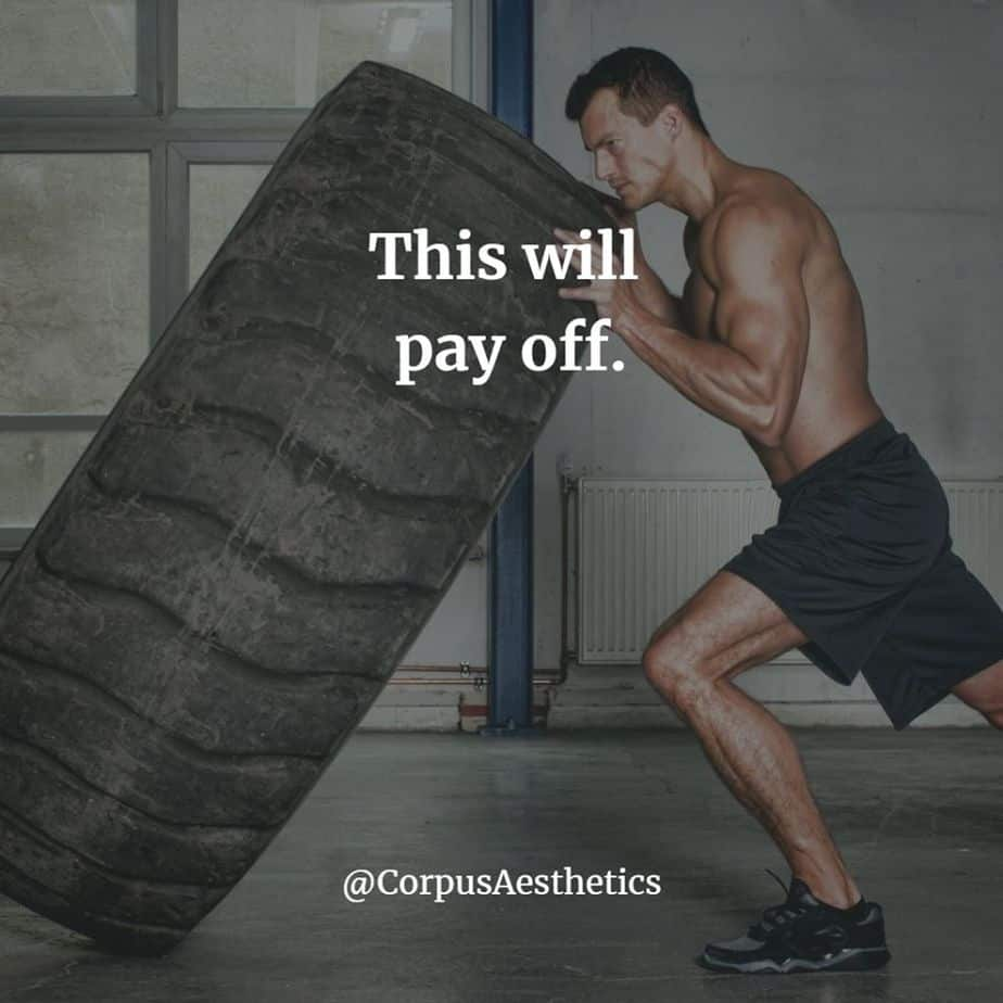 strength training motivational quotes, This will pay off, a strong guy has a rolling tire training