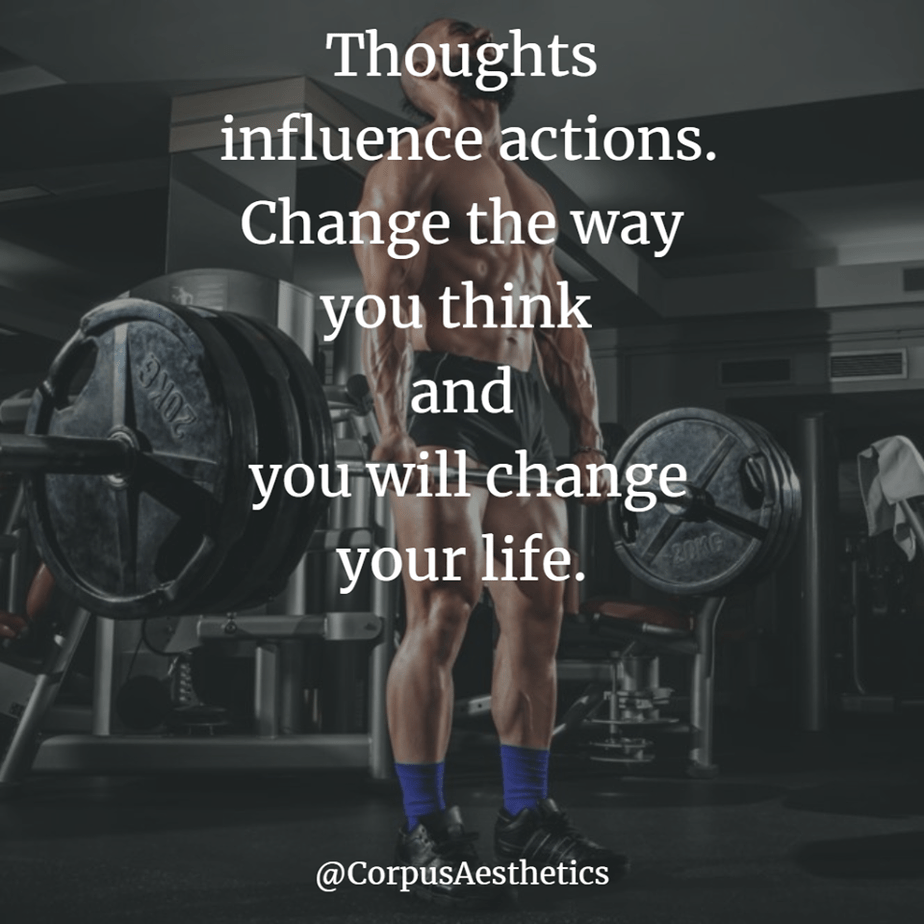strength training motivational quotes, Thoughts influence actions, a guy has a weightlifting training at the gym