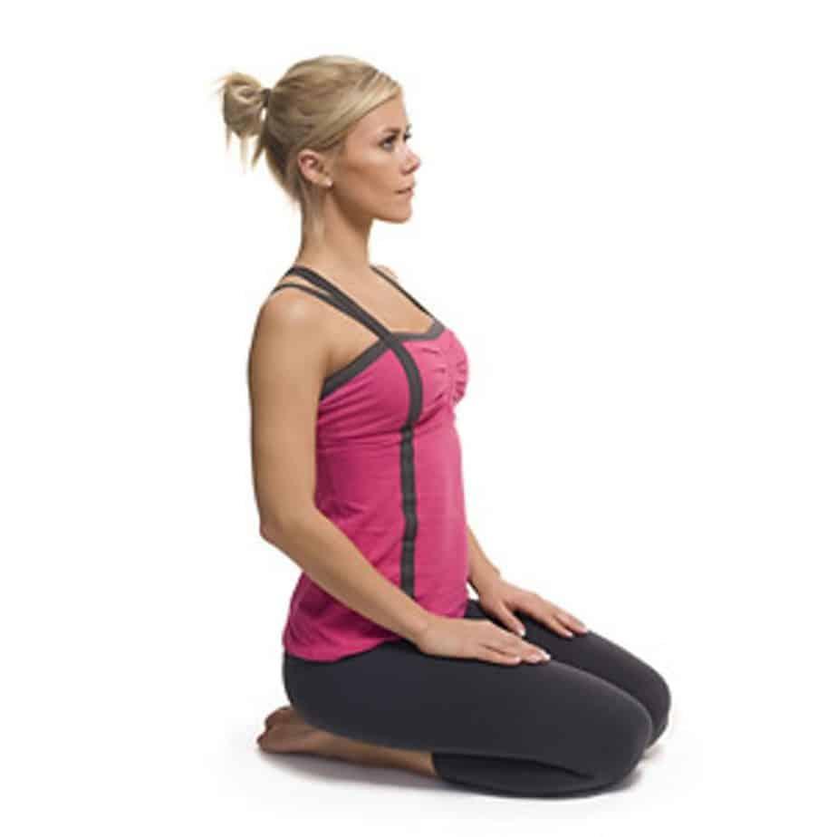 Vajraasana yoga pose, adamantine or thunderbolt
