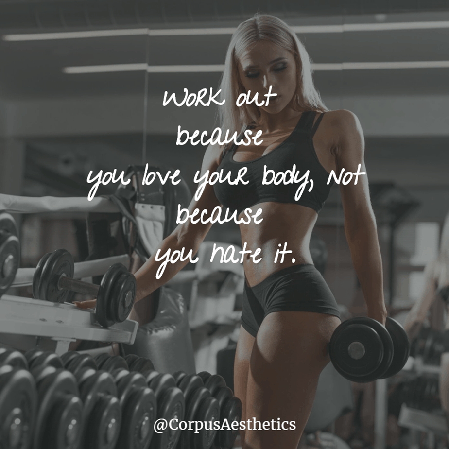 fitness motivational quotes, Work out because you love your body, a girl has a training with weights at the gym