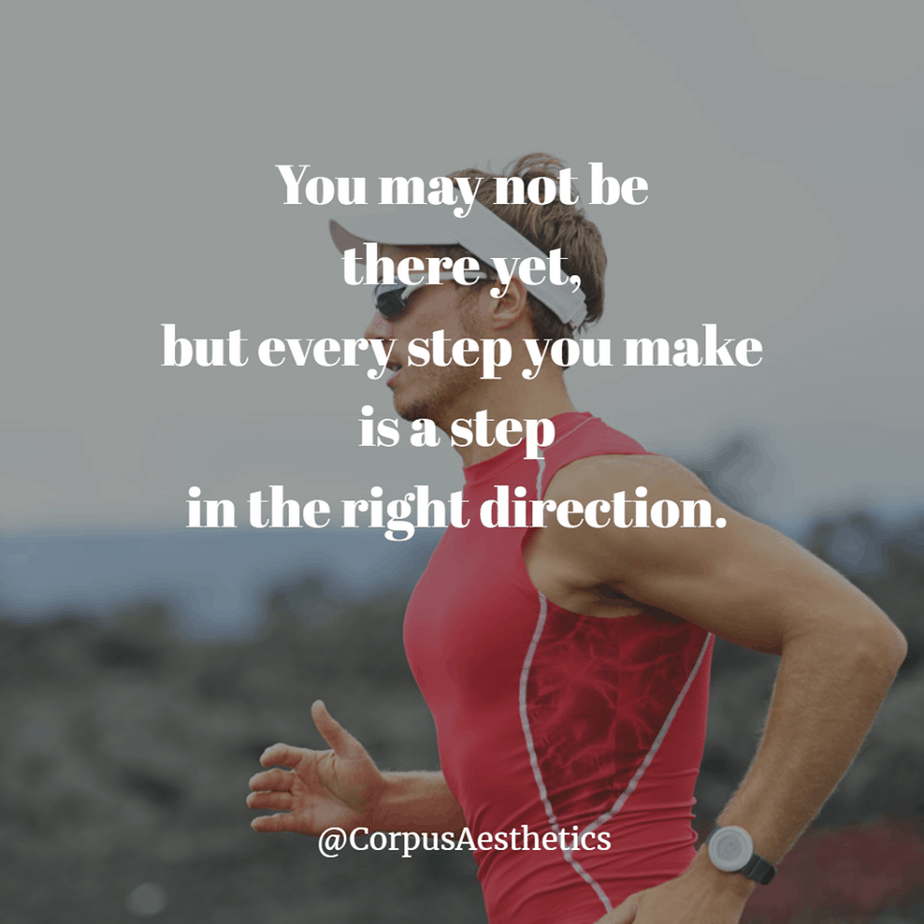 running motivational quotes, You may not be there yet, a man starts training with running outside