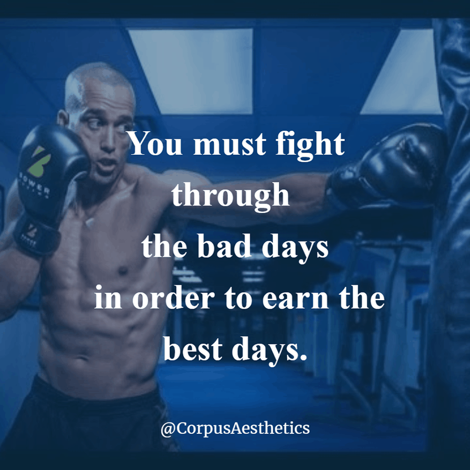 gym motivational quotes, You must fight through the bad days, a guy has a training with punching bag at the gym