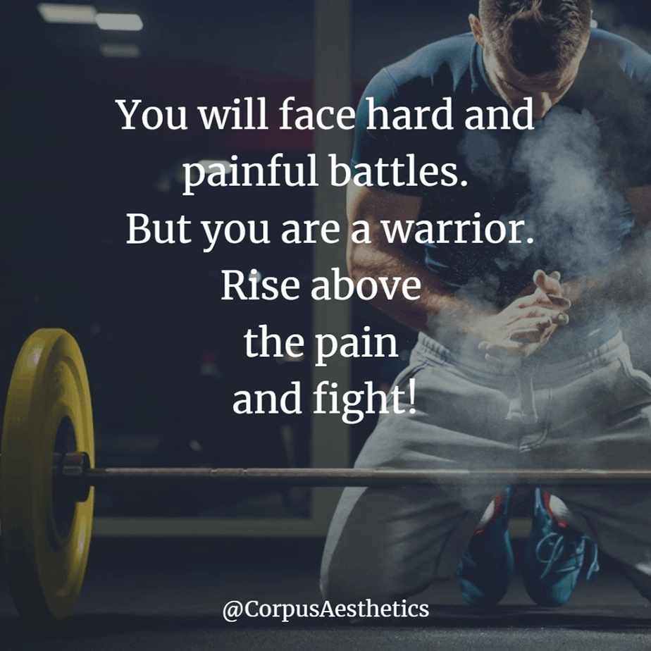 weight lifting motivational quotes, Rise above the pain and fight, a guy has a strength training with weights at the gym