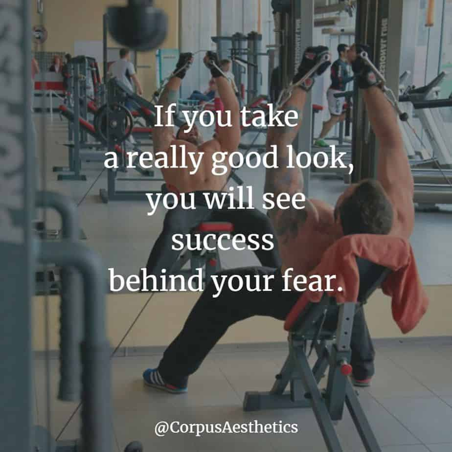 gym motivational quotes, you will see success behind your fear, a guy has a weightlifting training at the gym