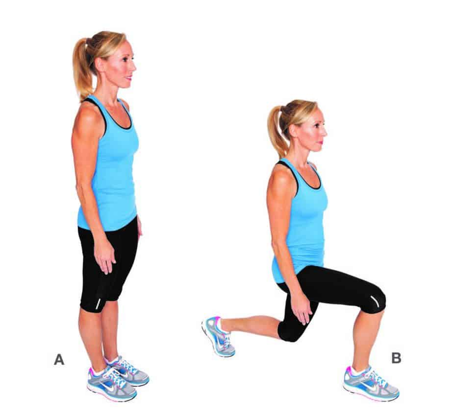 A girl is preparing for working out with lunges exercise at home