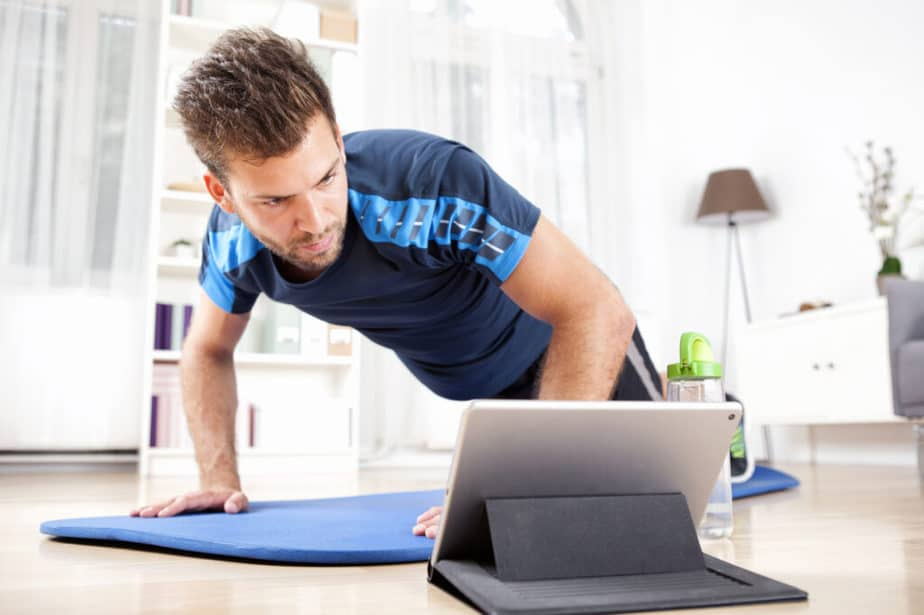 A guy has online training at home