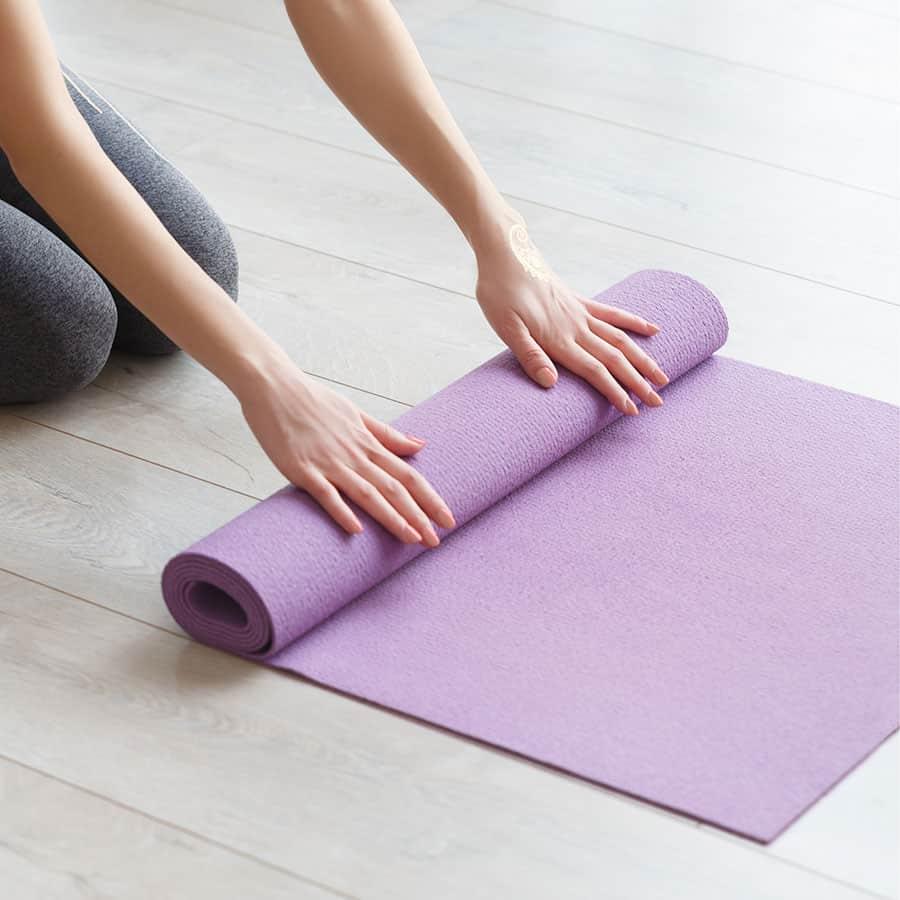 A pink yoga mat