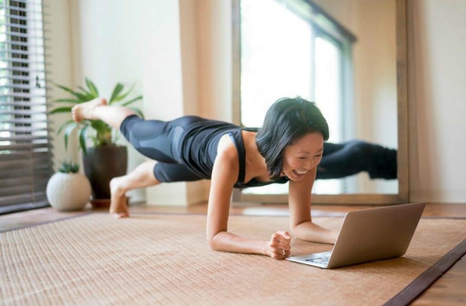 A girl has online training at home