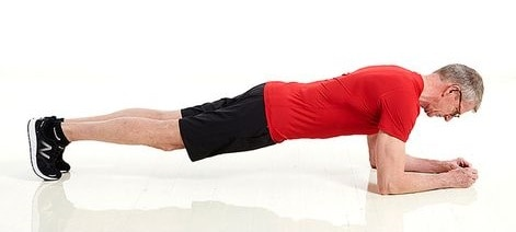 a man performing a plank exercise