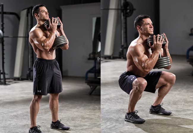 A guy has a goblet squat training