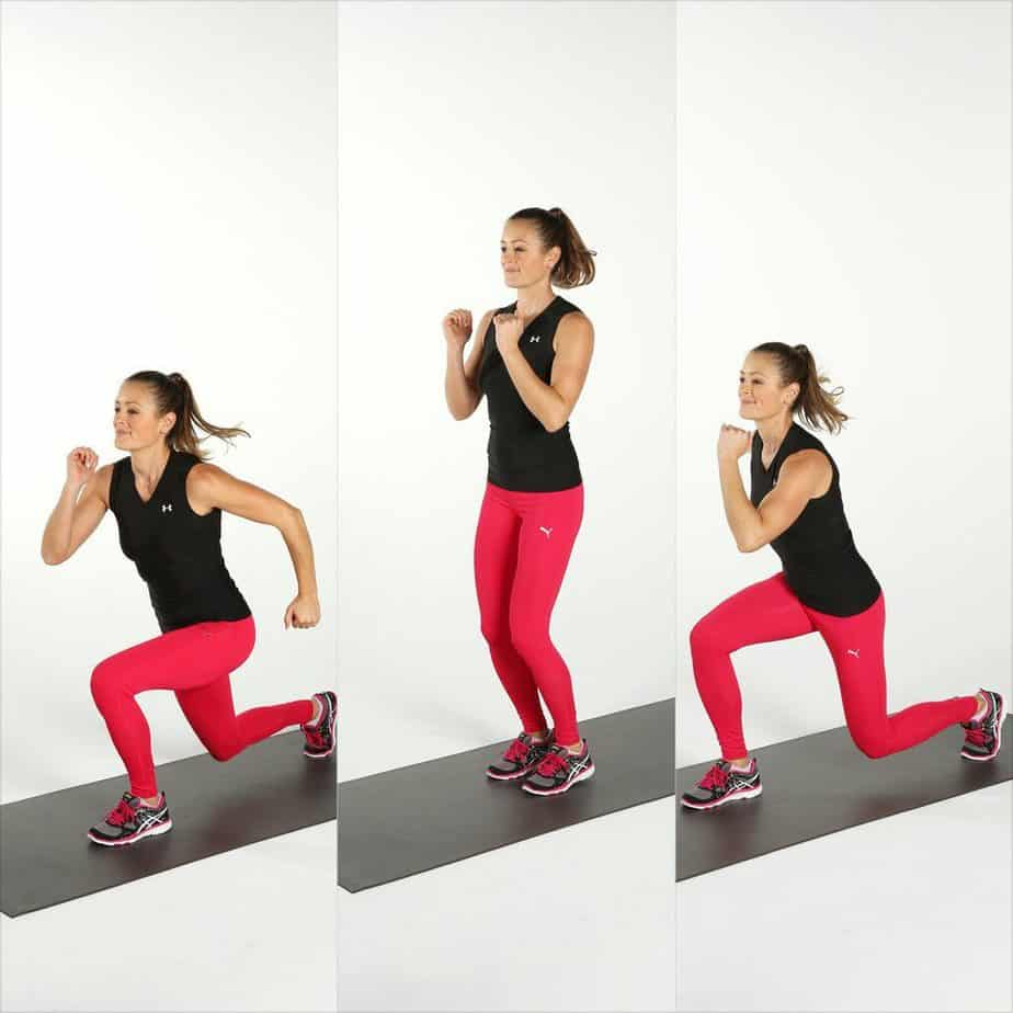 A girl has jumping lunges exercise