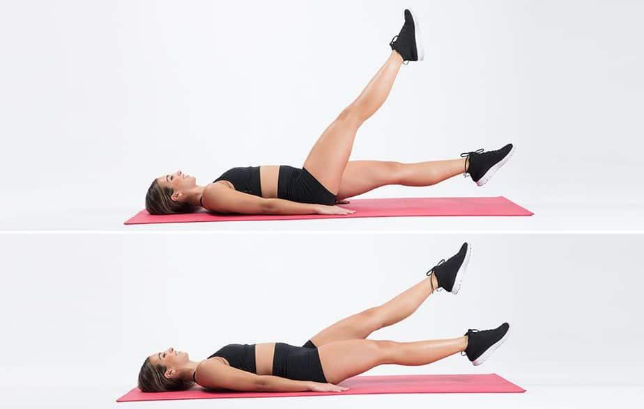 A girl has flutter kicks exercise