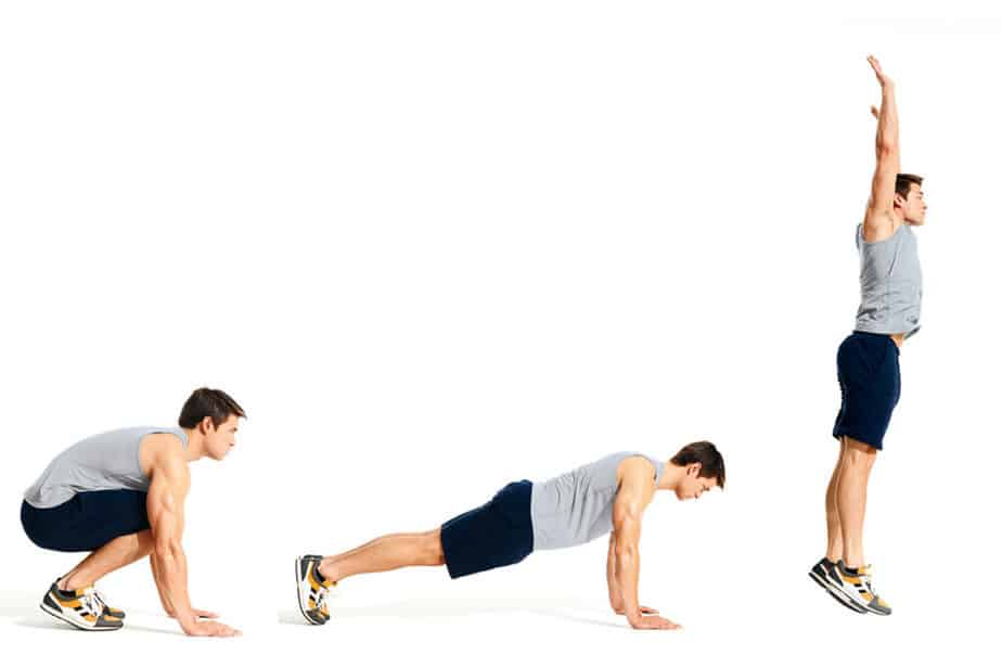 A guy has a burpees training