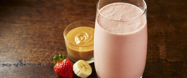 A Smoothie with banana, peanut butter and strawberry
