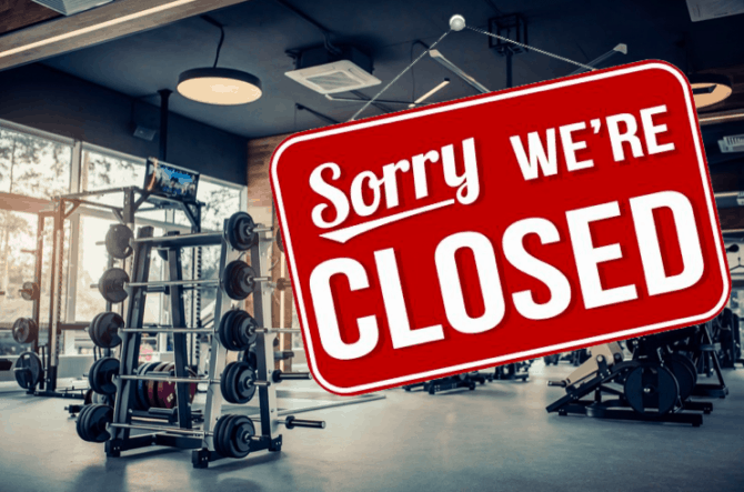A closed gym because of global health issue