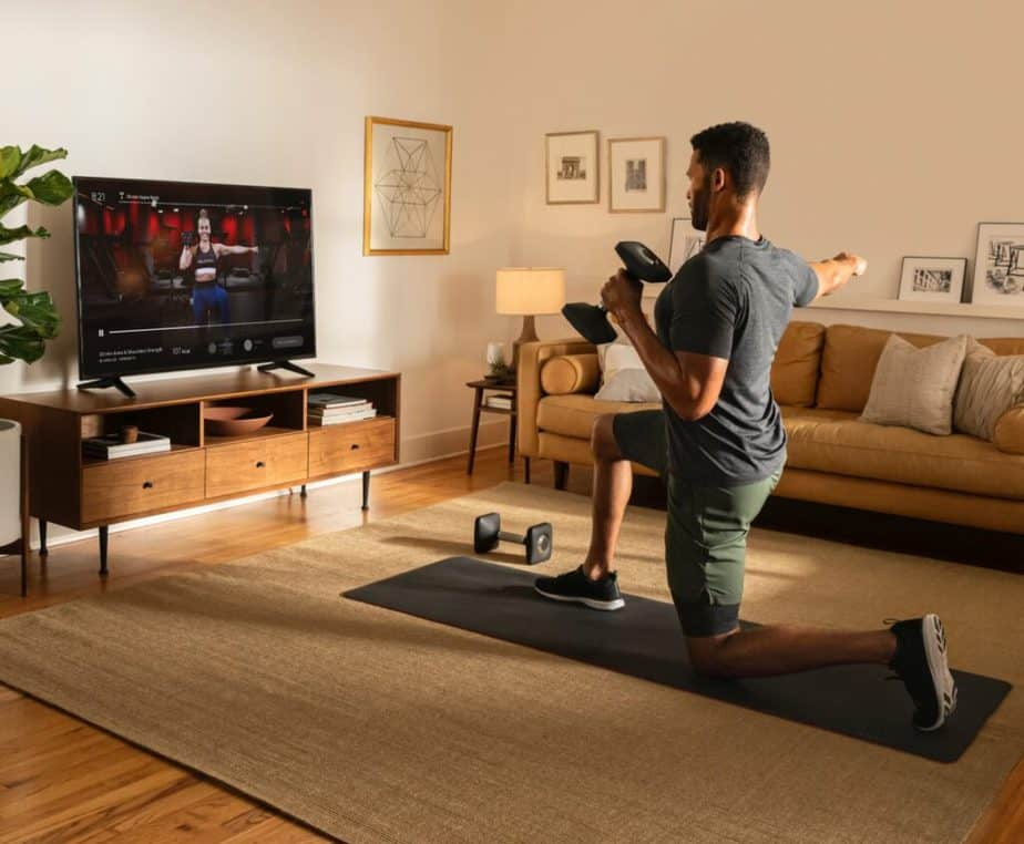 A guy has an online training at home, on demand
