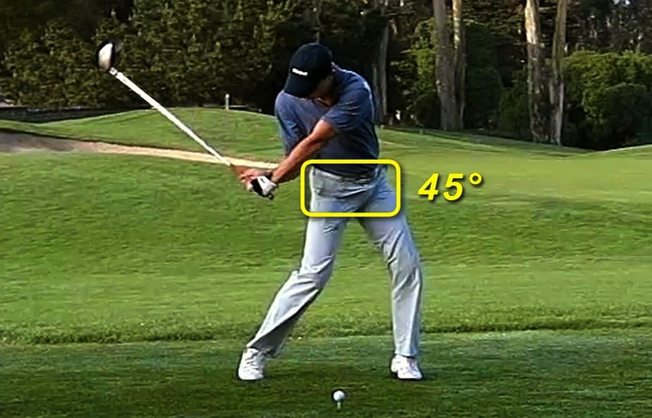 A golfer is hitting ball with body rotation