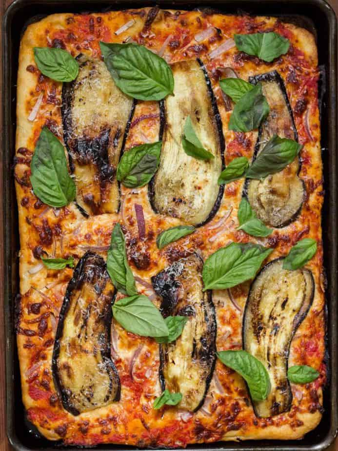Aubergine and caramelized onion on pizza
