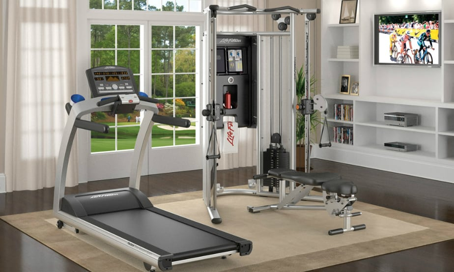 A treadmill at home