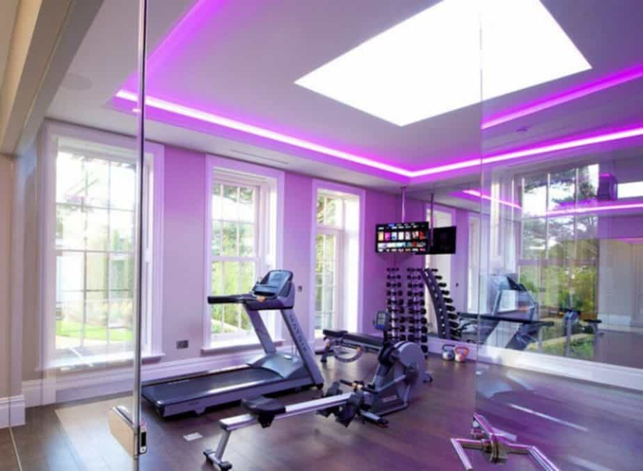 Home gym with purple lightning