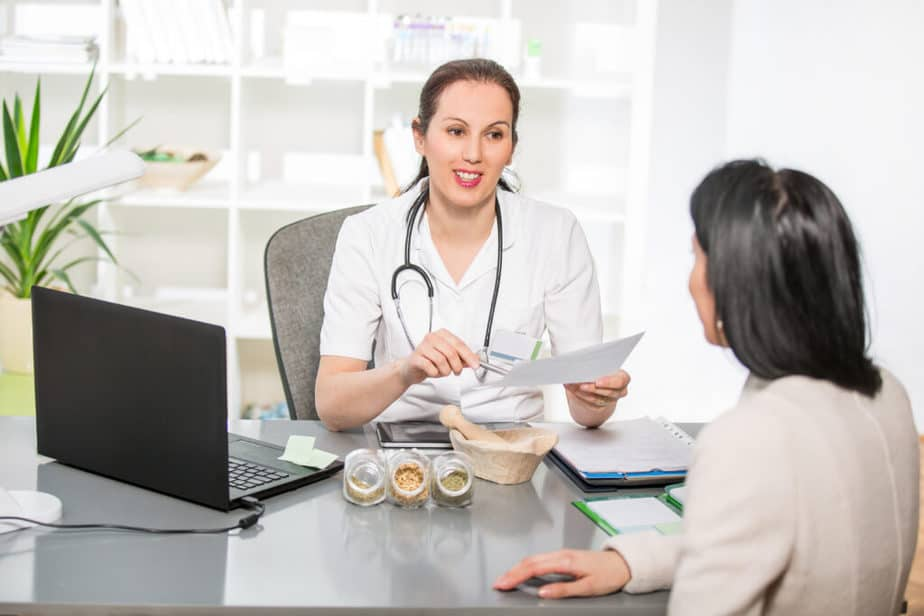 A naturopathic doctor is giving advice to her patient
