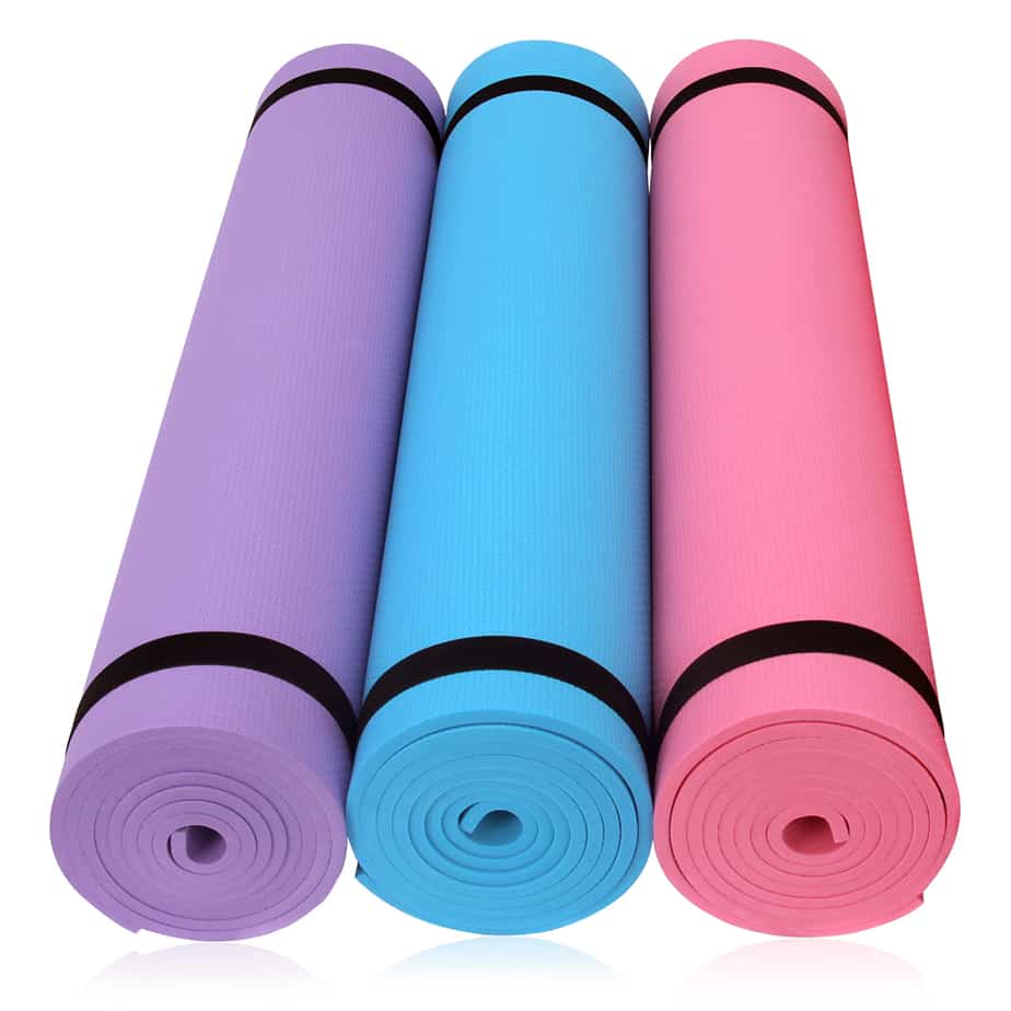 Type of yoga mat in different colors