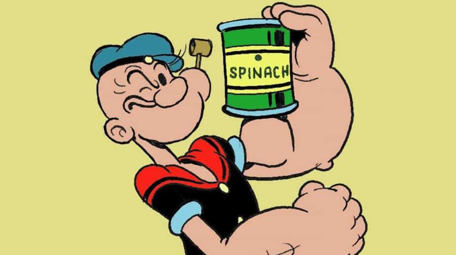 Popeye the sailor with a conserve of spinach