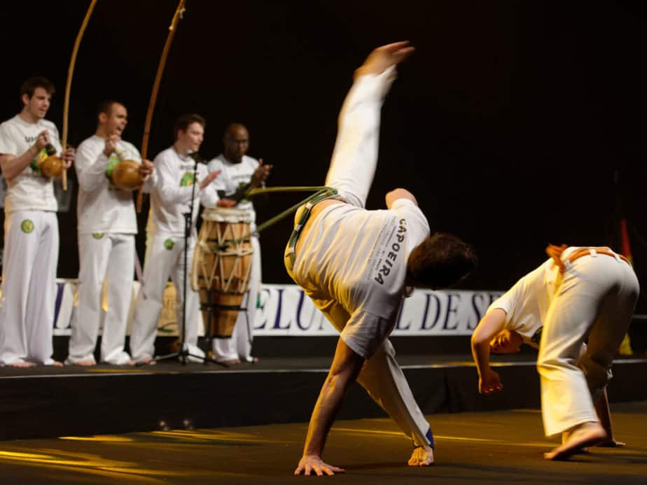 Capoeira playing to music
