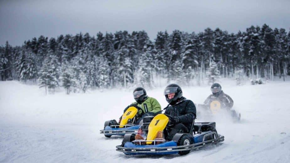 Guys haveing an ice karting