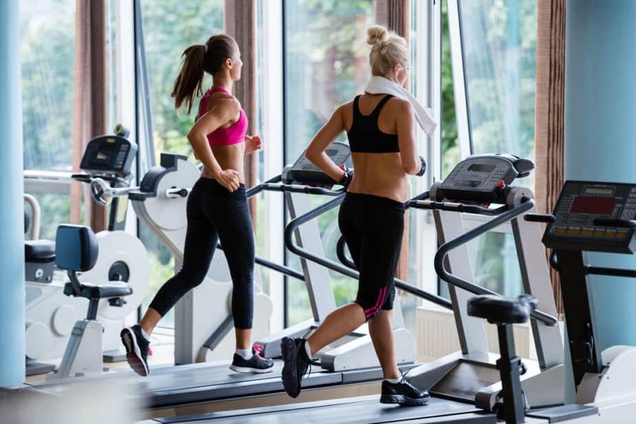 Couple of girls has a cardio training