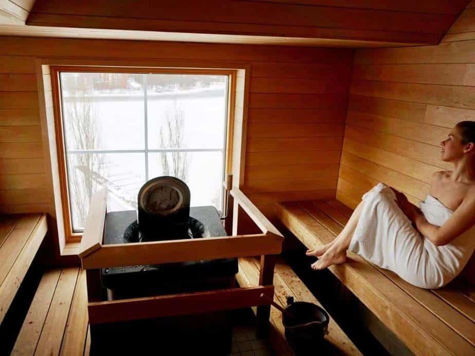 A girl in Finnish sauna