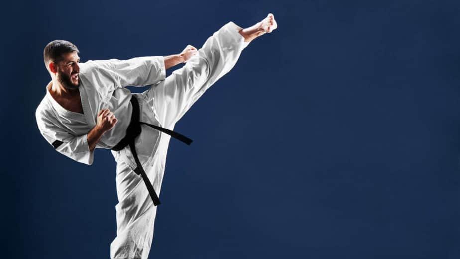 Karate guy has a training