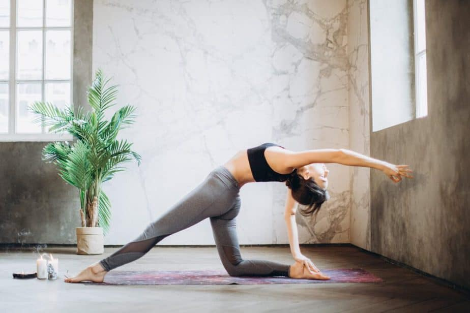 A girl has a yoga practice.