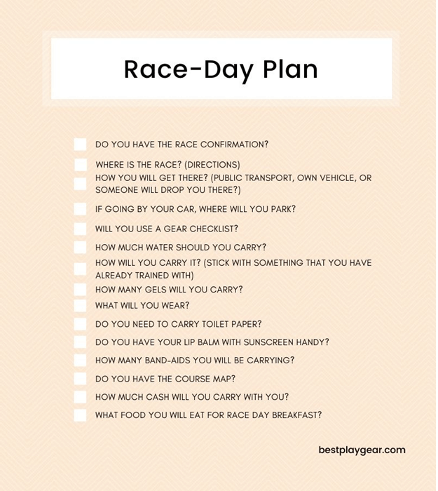 There is a daily plan of race.