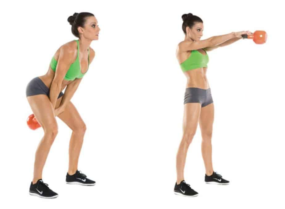 A girl has an exercise for stomach with kettle bell.