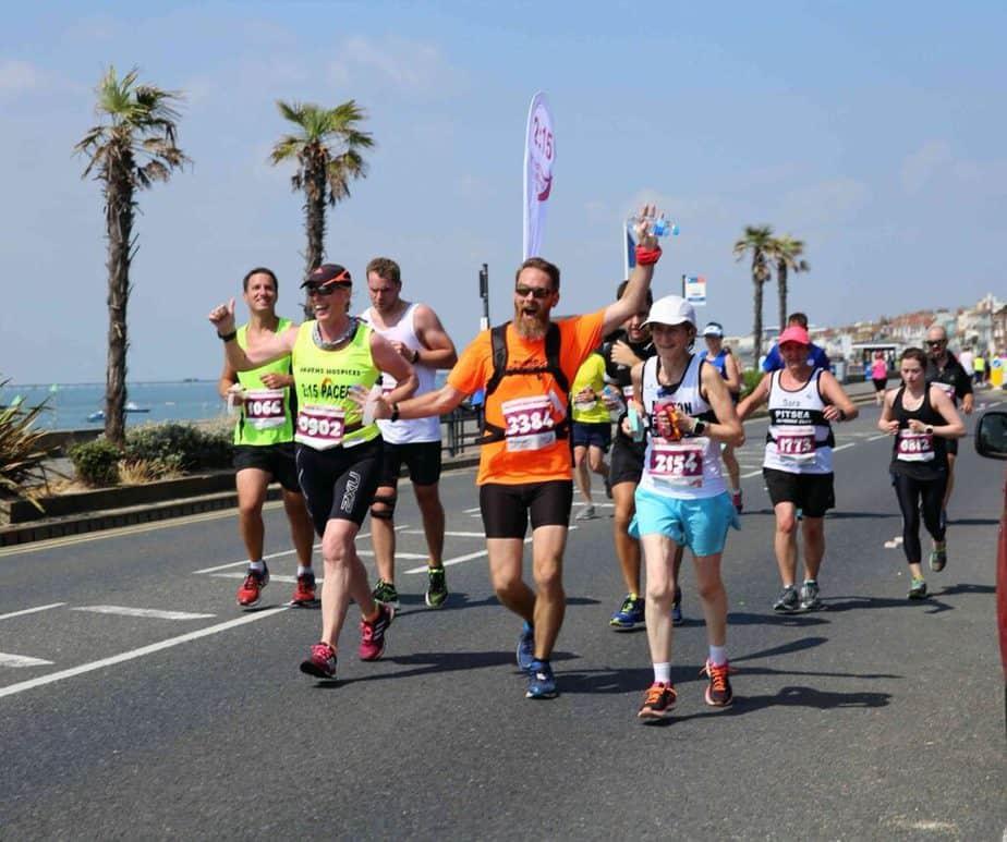 A half marathon group is running.